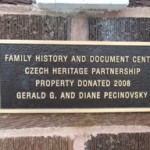 The plaque on the Family History and Genealogy Center of the Czech Heritage Partnership.