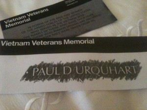 My rubbing from The Wall of my cousin, Paul D. Urquhart.  Shot down in his helicopter in Vietnam.  Still MIA/KIA.