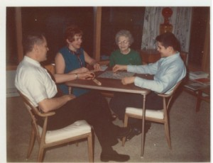 My Nana, third from left playing her favorite game, Scrabble!  Far left, my dad, next my Mom, Nana and then me!
