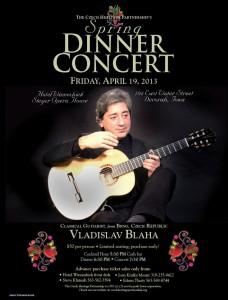 Poster for the CHP Dinner Concert featuring Czech classical guitarist, Vladislav Blaha of Brno, Czech Republic.