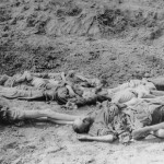 One of the mass graves encountered by the men of the 83rd at Langenstein.