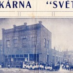 Reverse side of flyer advertising the Svet publisher and their building.  Believed to be located at 4515 Broadway.