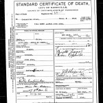 Death certificate for Alfred John Adam from 1907.