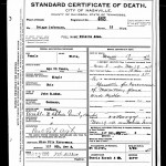 Death certificate for Melanie Adam dated 1910.