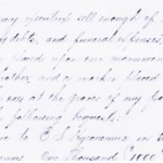A portion of the 1910 will of Melanie Adam giving her burial and the Adam family memorial information.