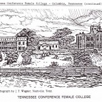 """Lithograph of Tennessee Conference Female College, from """"Ansearchin' News."""
