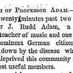 A portion of the obituary for Professor J. Rudd Adam thanks to the TSLA.