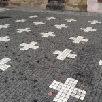 The 27 Martyrs Crosses in Old Town Square, Prague today.