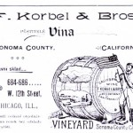 1897 advertisement for wine from the Korbel Brothers vineyard.