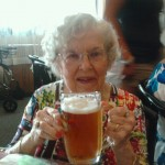 My mom toasting her 90th at Marta's Czech restaurant in Cleveland.  She drank the whole thing too!