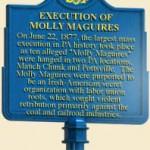 Pennsylvania Historical Marker Regarding the execution of the Molly Maguires.