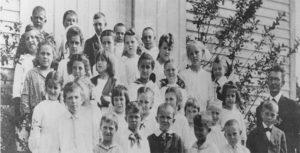 Bohemian school children in front of their school in Caledonia, Wisconsin.