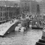 The wreck of the Eastland in Chicago.