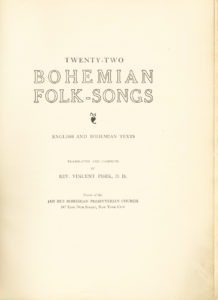 Cover page from Bohemian Folk-Songs