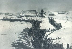 Austrian soldiers fighting the Russians in trench warfare.